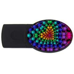 Mirror Fractal Balls On Black Background Usb Flash Drive Oval (4 Gb) by Simbadda