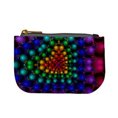 Mirror Fractal Balls On Black Background Mini Coin Purses