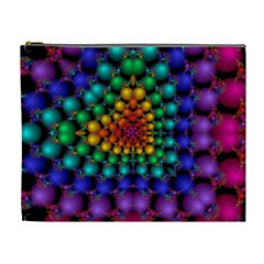 Mirror Fractal Balls On Black Background Cosmetic Bag (xl)