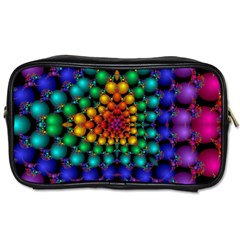 Mirror Fractal Balls On Black Background Toiletries Bags by Simbadda