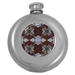 Ladder Against Wall Abstract Alternative Version Round Hip Flask (5 Oz) by Simbadda