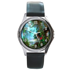 Beautiful Peacock Colorful Round Metal Watch