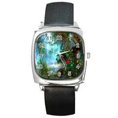 Beautiful Peacock Colorful Square Metal Watch