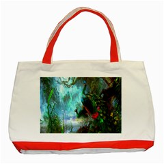 Beautiful Peacock Colorful Classic Tote Bag (red)