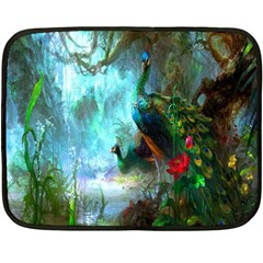 Beautiful Peacock Colorful Double Sided Fleece Blanket (mini)  by Simbadda