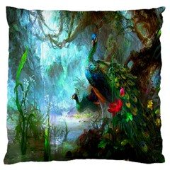Beautiful Peacock Colorful Large Cushion Case (two Sides) by Simbadda