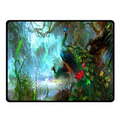 Beautiful Peacock Colorful Double Sided Fleece Blanket (small)  by Simbadda