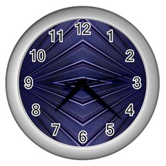 Blue Metal Abstract Alternative Version Wall Clocks (silver)