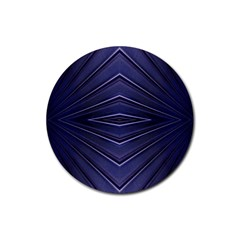 Blue Metal Abstract Alternative Version Rubber Coaster (round)  by Simbadda
