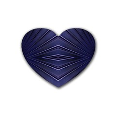 Blue Metal Abstract Alternative Version Rubber Coaster (heart)  by Simbadda