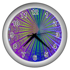Blue Fractal That Looks Like A Starburst Wall Clocks (silver)  by Simbadda
