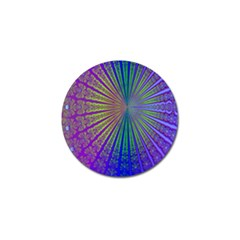 Blue Fractal That Looks Like A Starburst Golf Ball Marker (10 Pack) by Simbadda