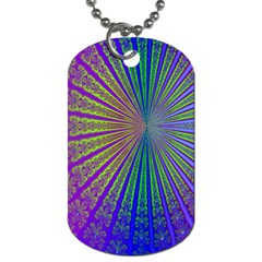 Blue Fractal That Looks Like A Starburst Dog Tag (two Sides)