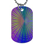 Blue Fractal That Looks Like A Starburst Dog Tag (Two Sides) Back