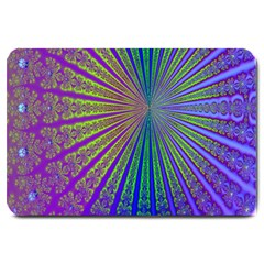 Blue Fractal That Looks Like A Starburst Large Doormat  by Simbadda