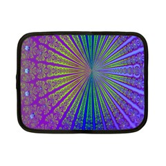 Blue Fractal That Looks Like A Starburst Netbook Case (small)  by Simbadda