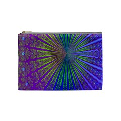 Blue Fractal That Looks Like A Starburst Cosmetic Bag (medium)  by Simbadda