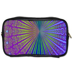 Blue Fractal That Looks Like A Starburst Toiletries Bags 2 Side