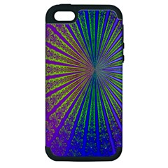 Blue Fractal That Looks Like A Starburst Apple Iphone 5 Hardshell Case (pc+silicone) by Simbadda