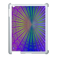 Blue Fractal That Looks Like A Starburst Apple Ipad 3/4 Case (white) by Simbadda