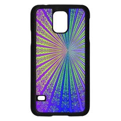 Blue Fractal That Looks Like A Starburst Samsung Galaxy S5 Case (black)