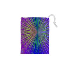 Blue Fractal That Looks Like A Starburst Drawstring Pouches (xs)  by Simbadda