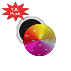 Polka Dots Pattern Colorful Colors 1 75  Magnets (100 Pack)