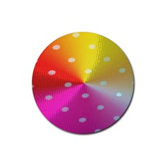 Polka Dots Pattern Colorful Colors Rubber Round Coaster (4 Pack)  by Simbadda
