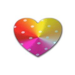 Polka Dots Pattern Colorful Colors Heart Coaster (4 Pack)