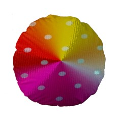 Polka Dots Pattern Colorful Colors Standard 15  Premium Round Cushions