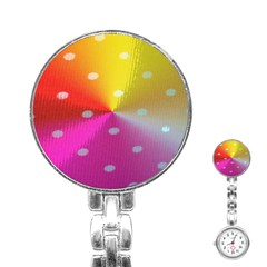 Polka Dots Pattern Colorful Colors Stainless Steel Nurses Watch by Simbadda