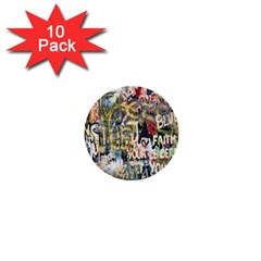 Graffiti Wall Pattern Background 1  Mini Buttons (10 Pack)  by Simbadda
