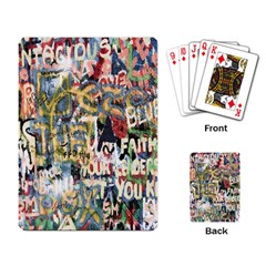 Graffiti Wall Pattern Background Playing Card by Simbadda