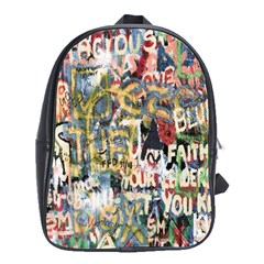 Graffiti Wall Pattern Background School Bags(large)  by Simbadda