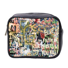 Graffiti Wall Pattern Background Mini Toiletries Bag 2 Side by Simbadda