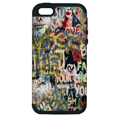 Graffiti Wall Pattern Background Apple Iphone 5 Hardshell Case (pc+silicone)