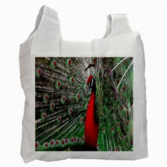 Red Peacock Recycle Bag (one Side) by Simbadda