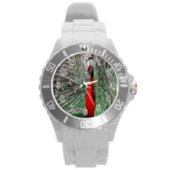 Red Peacock Round Plastic Sport Watch (l) by Simbadda