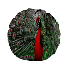 Red Peacock Standard 15  Premium Round Cushions by Simbadda