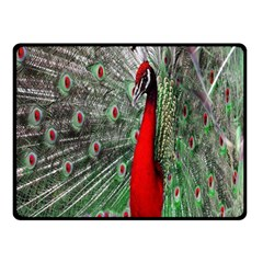 Red Peacock Double Sided Fleece Blanket (small)  by Simbadda