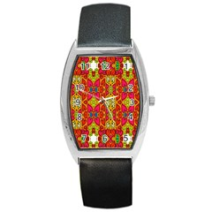 Abstract Background Design With Doodle Hearts Barrel Style Metal Watch by Simbadda
