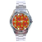 Abstract Background Design With Doodle Hearts Stainless Steel Analogue Watch Front
