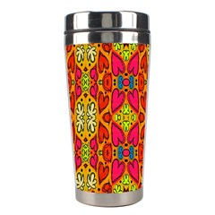 Abstract Background Design With Doodle Hearts Stainless Steel Travel Tumblers