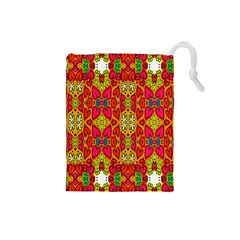 Abstract Background Design With Doodle Hearts Drawstring Pouches (small)