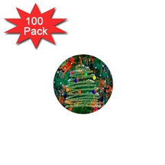 Watercolour Christmas Tree Painting 1  Mini Buttons (100 Pack)  by Simbadda