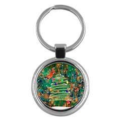 Watercolour Christmas Tree Painting Key Chains (round)  by Simbadda