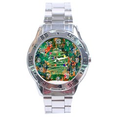 Watercolour Christmas Tree Painting Stainless Steel Analogue Watch by Simbadda