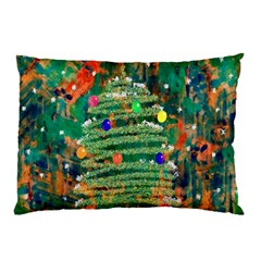 Watercolour Christmas Tree Painting Pillow Case (two Sides) by Simbadda