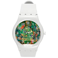 Watercolour Christmas Tree Painting Round Plastic Sport Watch (m) by Simbadda