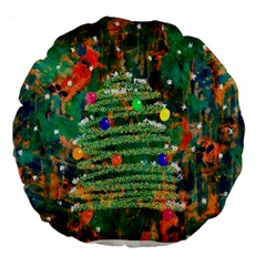 Watercolour Christmas Tree Painting Large 18  Premium Round Cushions by Simbadda